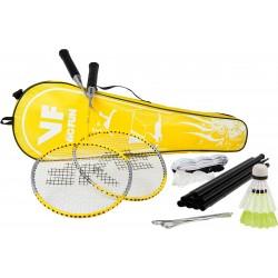 VICTOR badmintonset HOBBY A   2 rackets, 2 nylonshuttles, net, haringen, scheerlijnen en tas