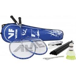 VICTOR badmintonset HOBBY A2   2 rackets, 2 nylonshuttles, net, haringen, scheerlijnen en tas