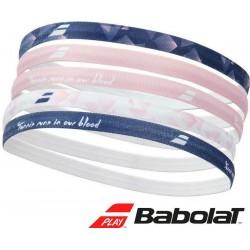 Babolat elastiche dames haarband - wit/roze/blauw - 6 stuk