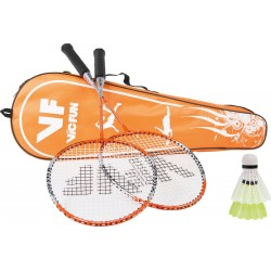 Victor VICfun oranje badmintonset 1.6 - 2 rackets shuttles en tas