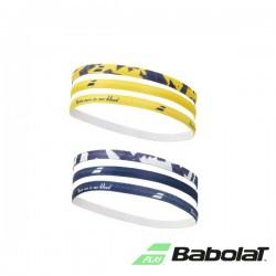 Babolat elastiche dames haarband - geel/blauw/wit - 6 stuk