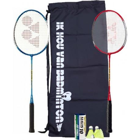 'Ik hou van badminton' badmintonset - met Mavis 200 outdoorshuttle